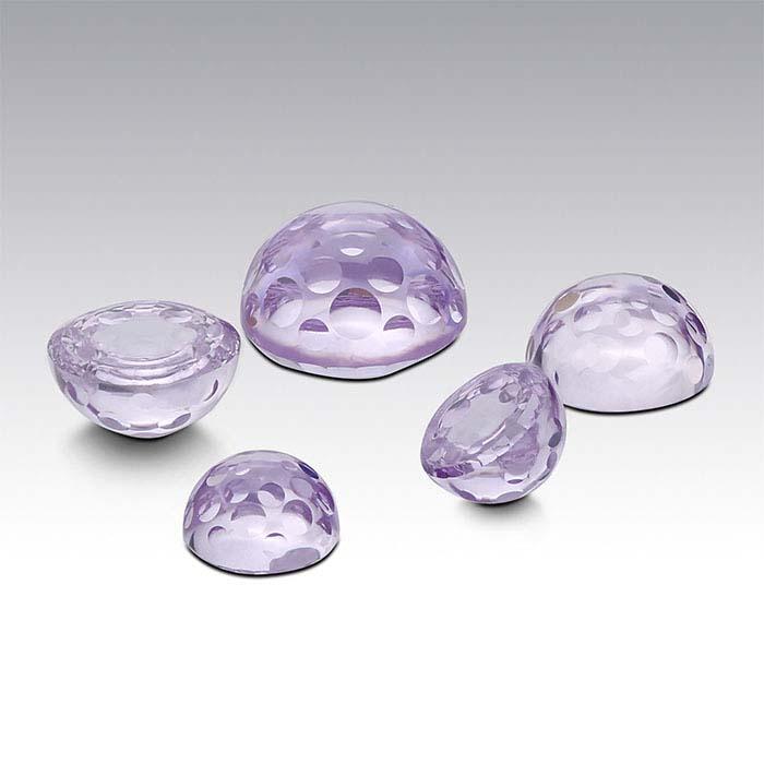 Lavender CZ Round Bubble-Cut Cabochons