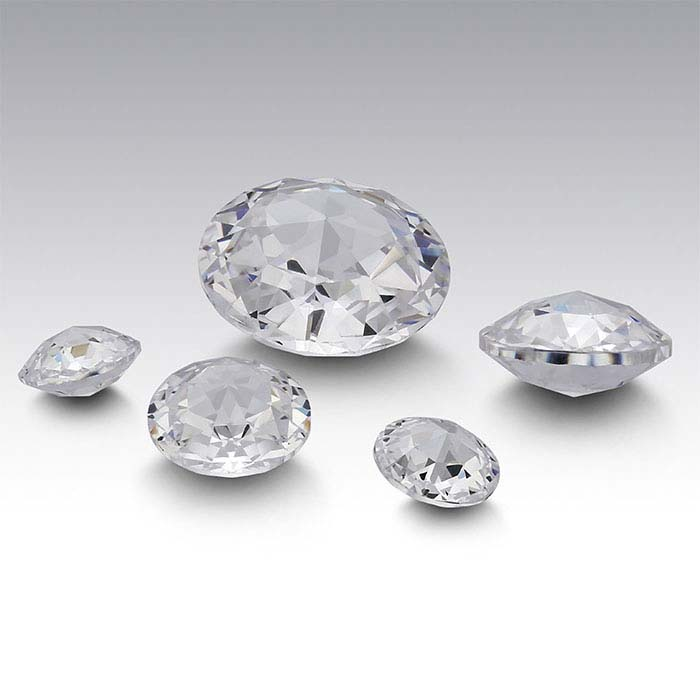 White CZ Round Double Rose-Cut Stones