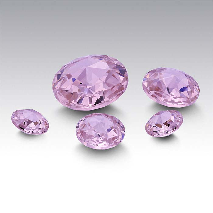 Pink CZ Round Double Rose-Cut Stones