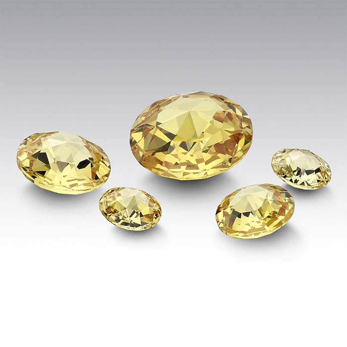 Yellow CZ 8mm Round Double Rose-Cut Stones