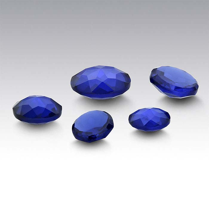 Simulated Sapphire Round Le Bouton-Cut Cabochons
