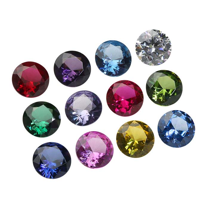 Simulated Birthstone Set 2mm Round Faceted Stones