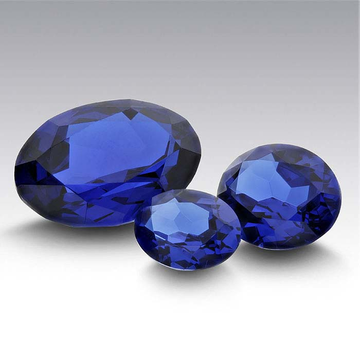 Lab-Created Blue Spinel Oval Faceted Stones