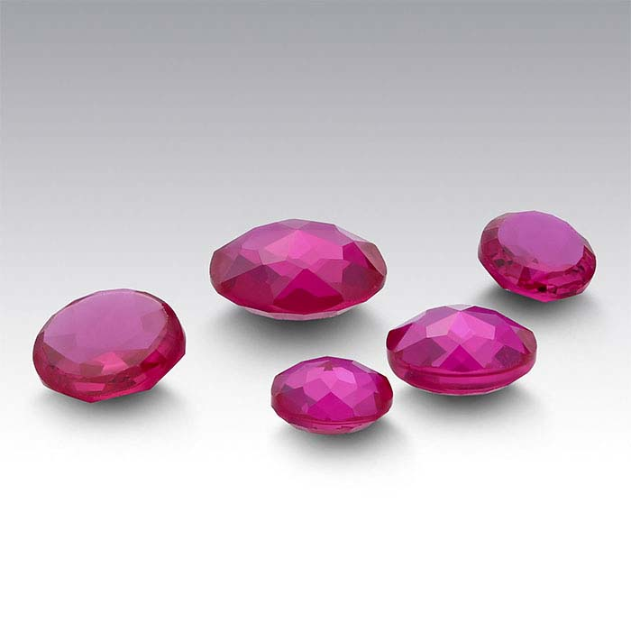Lab-Created Ruby 4mm Round Le Bouton-Cut Cabochon