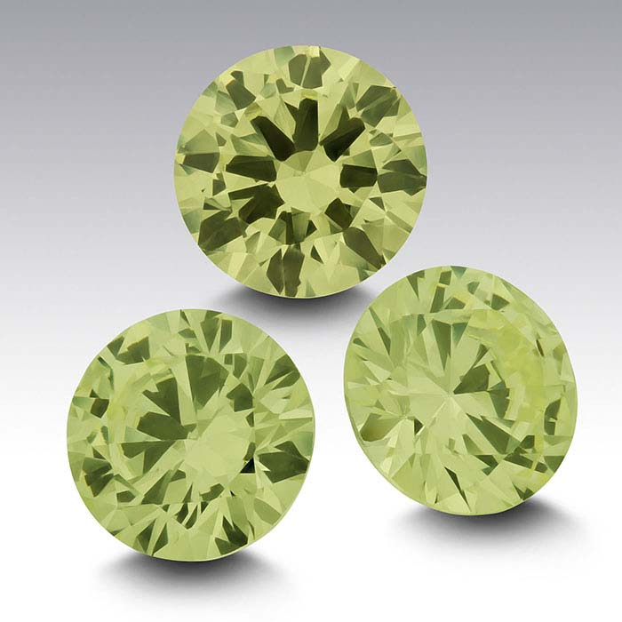 """""""Peridot"""" CZ Round Faceted Stones"""