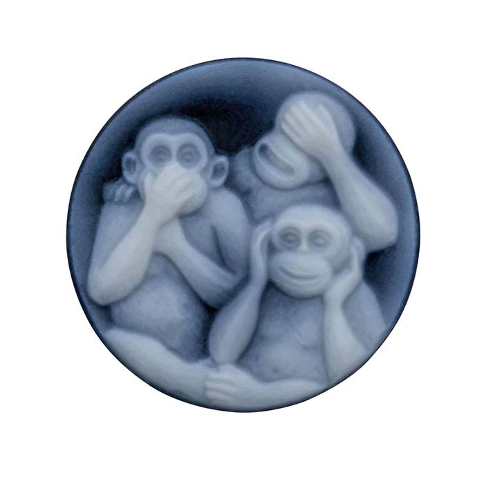 Black Agate 20mm Round Monkeys Cameo