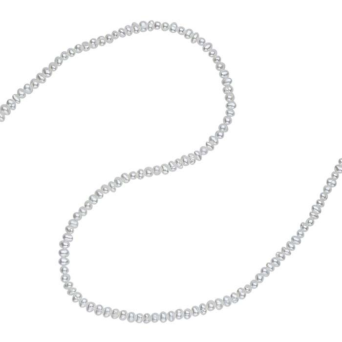 Freshwater Cultured 2–2.5mm Rice-Shaped Pearl Strand, White, A-Grade