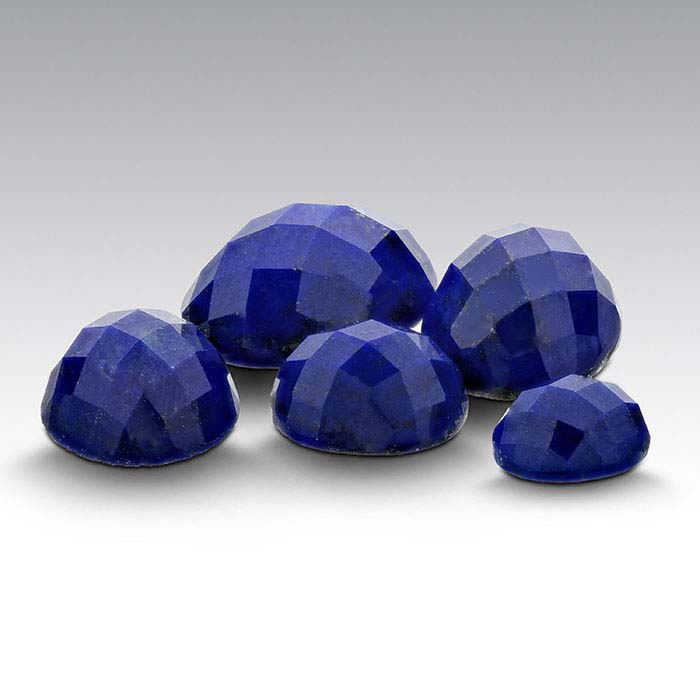 Lapis Lazuli Round High-Dome Faceted Cabochons, AA-Grade