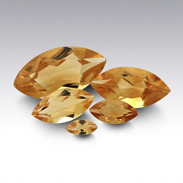 Yellow Citrine Marquise Faceted Stones, AA-Grade