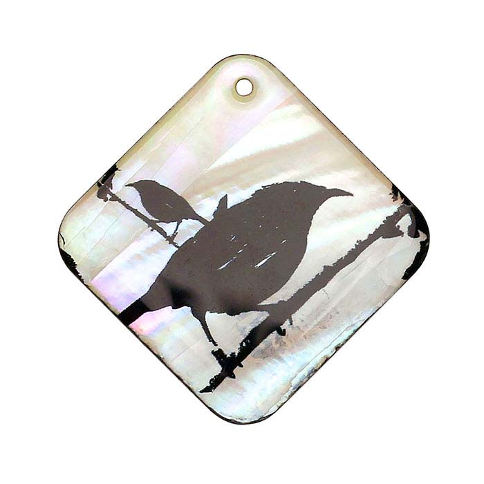 Mother-of-Pearl Raven Pendant