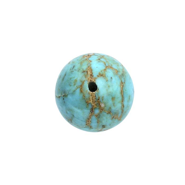 American Mined™ Gold Canyon Turquoise™ Half-Drilled Round Beads