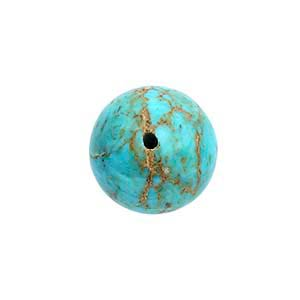 American Mined Gold Canyon Turquoise Half-Drilled Round Beads