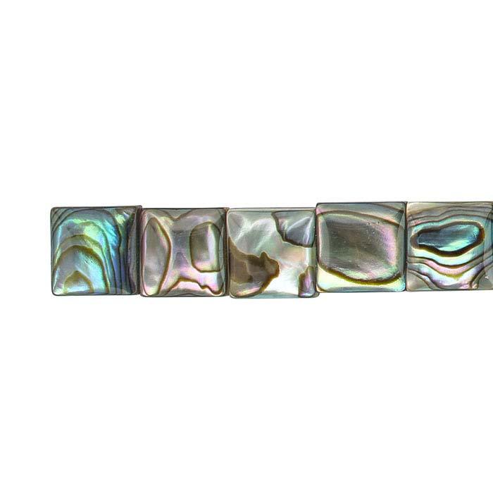 Paua Shell 10mm Square Bead Strand