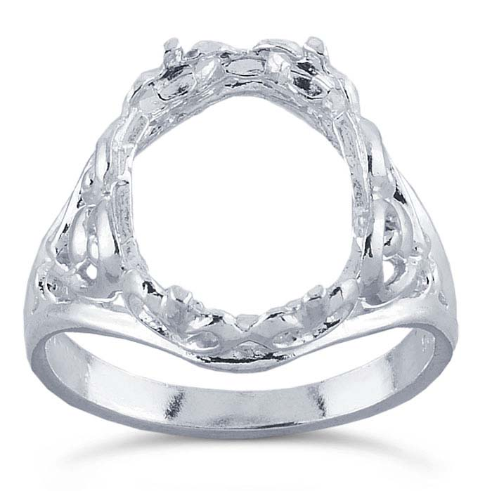 Ring Setting for 15x20mm Oval Cabochons Ring Blank Thai Sterling Silver Adjustable Band Ring Base SR0002