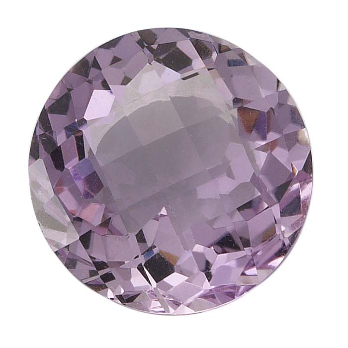Pink Amethyst Round Checkerboard Faceted Stones, AA-Grade