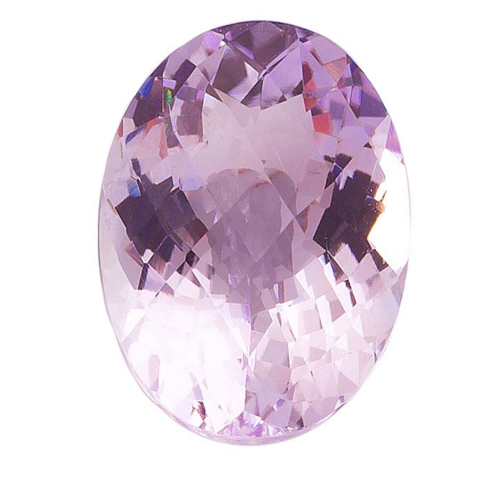 Pink Amethyst Oval Checkerboard Faceted Stones, AA-Grade