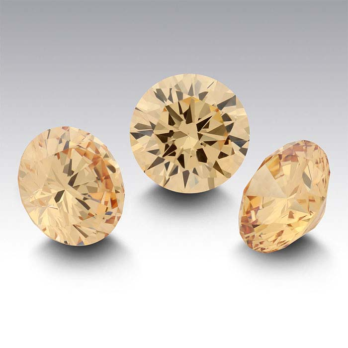 Champagne Cz 3mm Round Faceted Stone