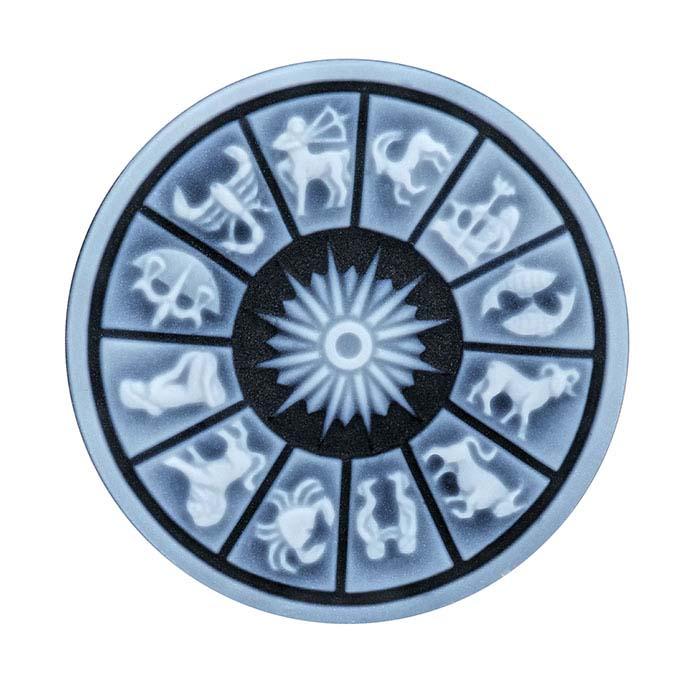 Black Agate Round Zodiac Cameos