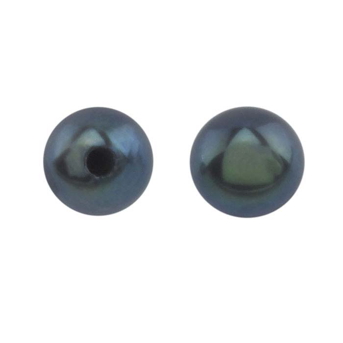 Freshwater Cultured Half-Drilled 4mm Round Pearl, Black, A-Grade