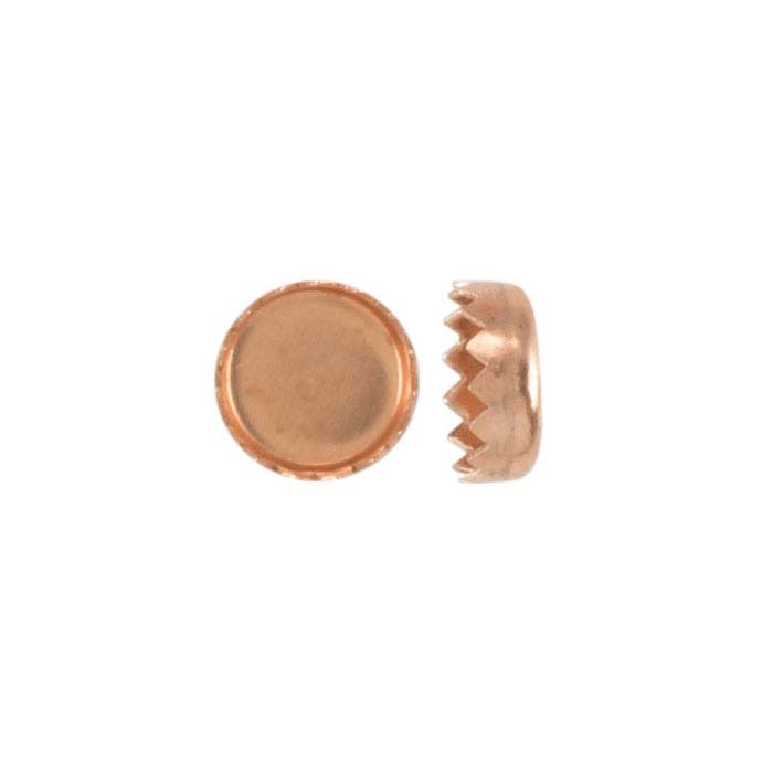 Copper 5mm Round Serrated-Edge Bezel Cup Setting