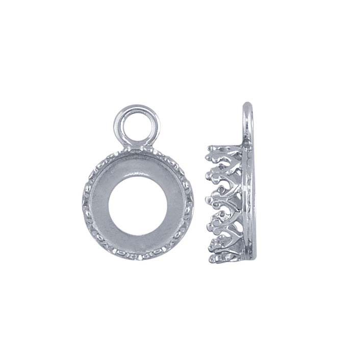 Argentium® Silver Round Gallery Wire Bezel Cup Component Mountings