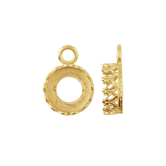 Bronze Yellow Gold-Plated 8mm Round Gallery Wire Cabochon Component Mounting
