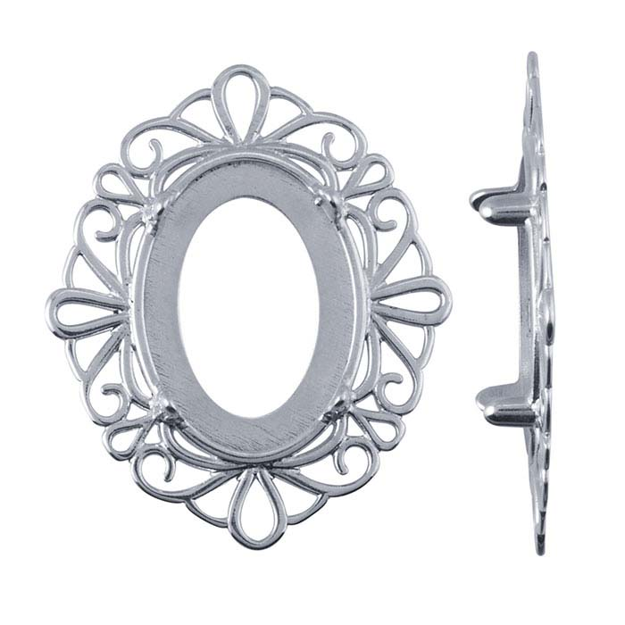 Sterling Silver 14 x 10mm Oval Cameo or Cabochon Frame 4-Prong Setting