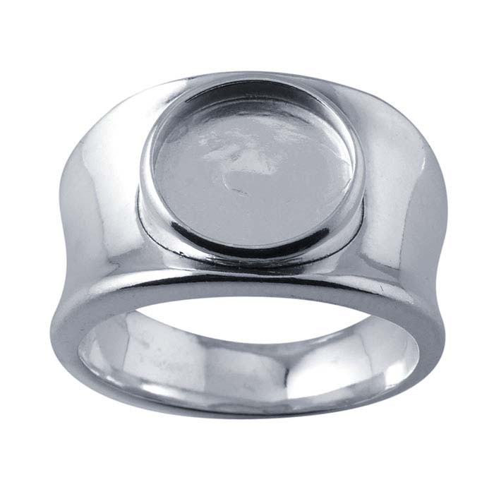 Sterling Silver Concave Band 10mm Round Cabochon Ring Mountings