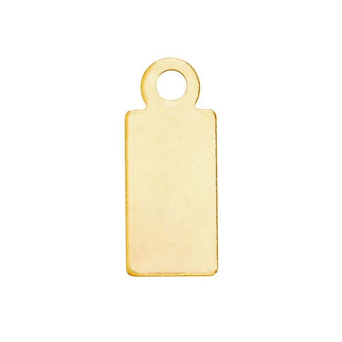 14K Yellow Gold 11.7 x 4.9mm Rectangle Tag, 26-Ga., Dead Soft
