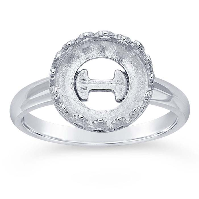 Size 7 Quantity: 1 Sterling Silver Charm Holder Ring Blank With Loop