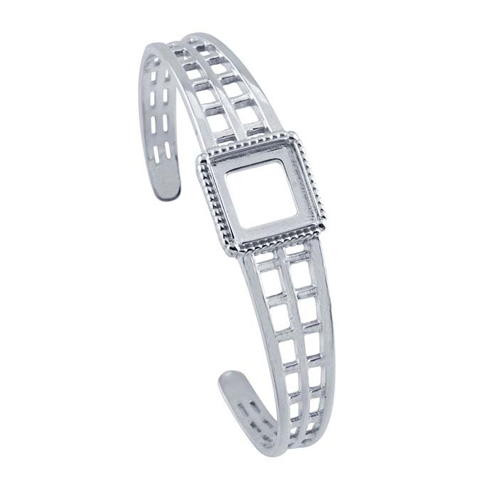 Sterling Silver 12mm Square Cuff Bracelet Mounting