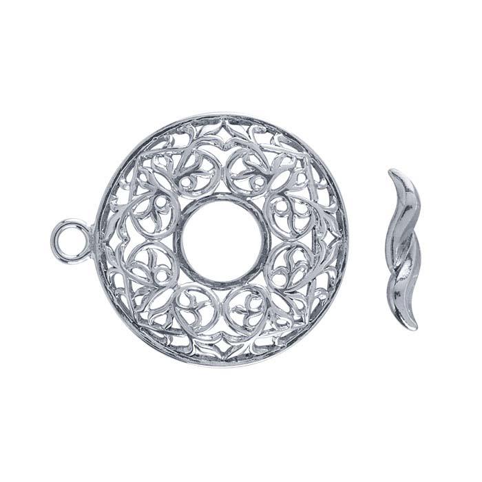 Argentium® Silver Round Filigree Toggle Clasp