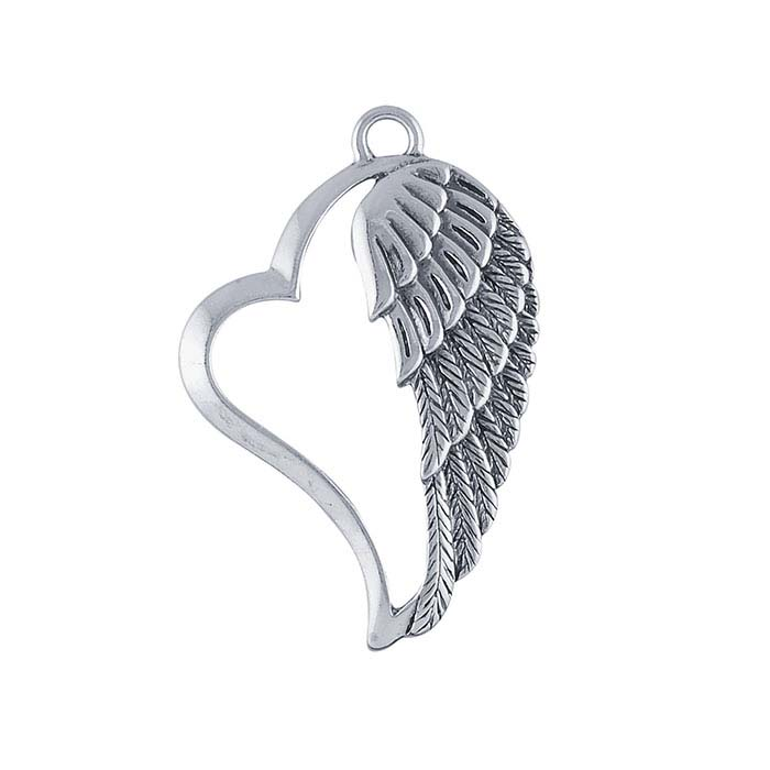 Sterling Silver Angel Wing Heart Component