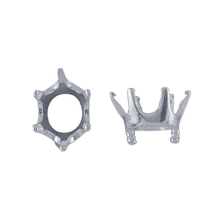 Embeddables® Silver Pre-Notched Oval 6-Prong Setting for Silver Clay