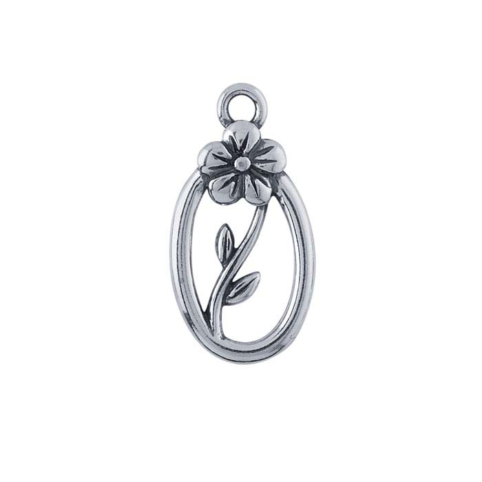 Sterling Silver Oval Flower Component