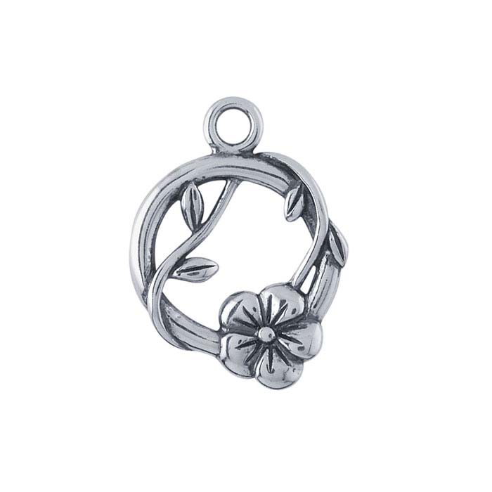 Sterling Silver Round Flower and Vine Component