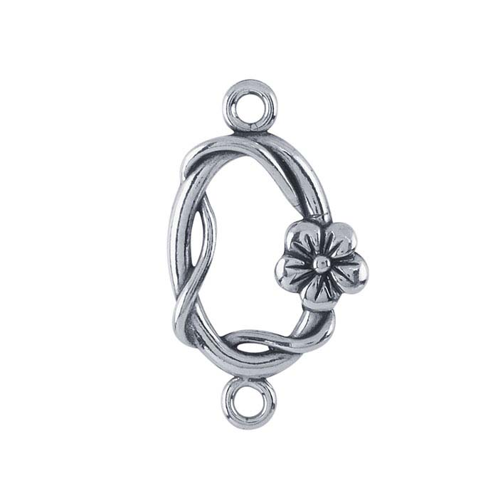 Sterling Silver Oval Flower and Vine Link Component