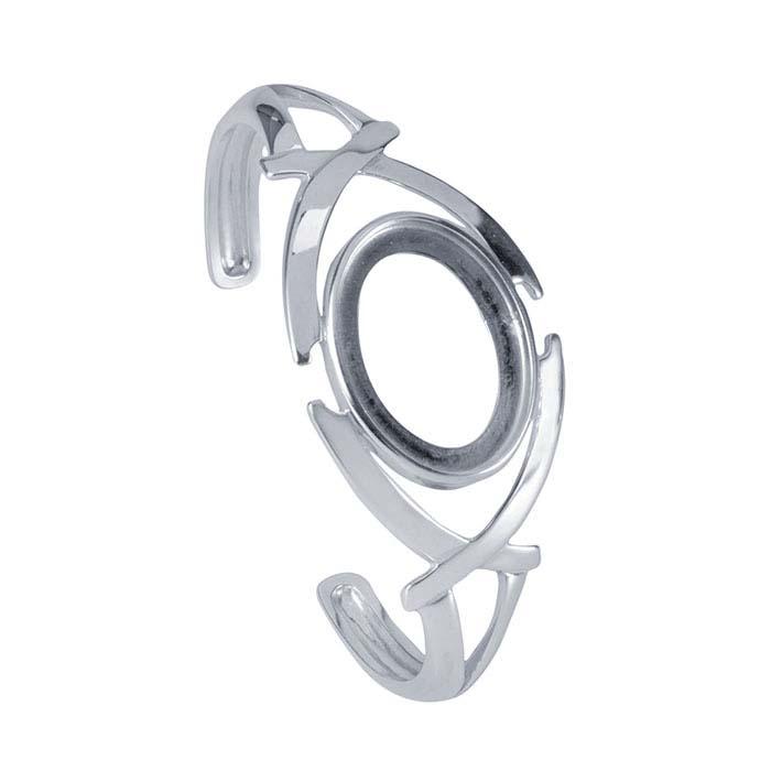 Sterling Silver 25 x 18mm Oval Criss-Cross Cuff Bracelet Mounting