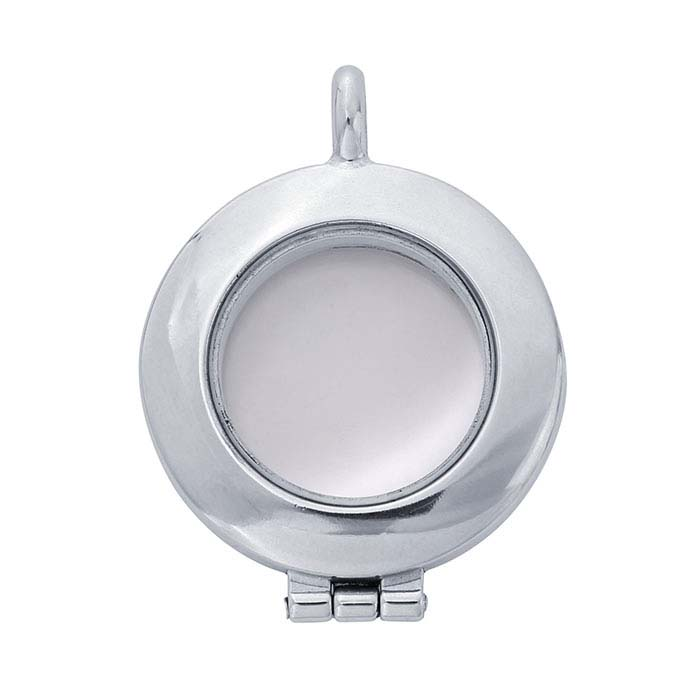 c87fd4095 Sterling Silver Round Floating Glass Locket Pendant