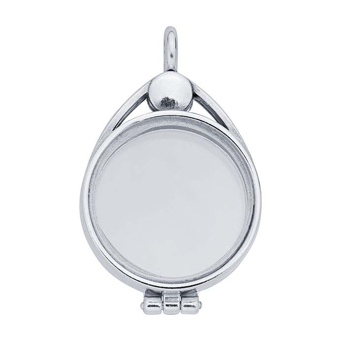 Sterling Silver Round Floating Glass Magnetic Locket Pendant