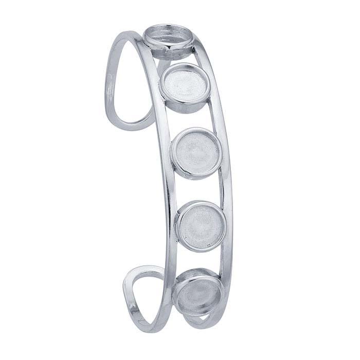 Sterling Silver Open Wire Cuff Bracelet Mounting