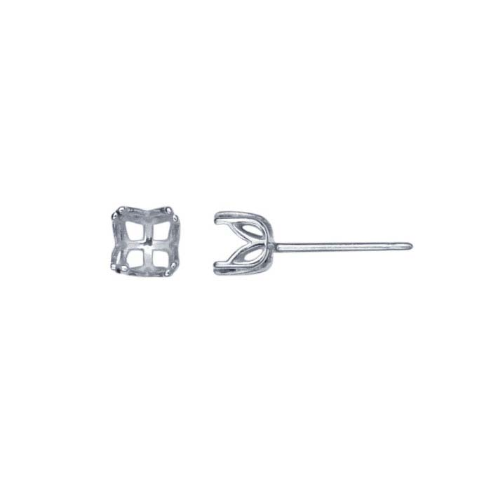 Sterling Silver Pre-Notched 5mm Round Post Earring Mounting