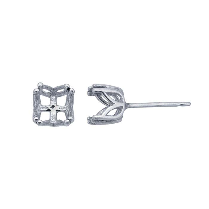 Sterling Silver Pre-Notched 6mm Round Post Earring Mounting