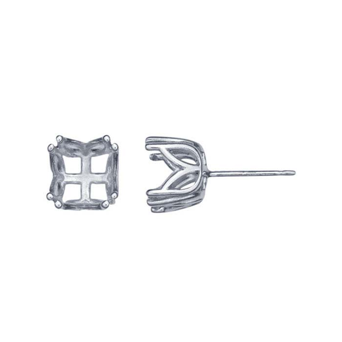 Sterling Silver Pre-Notched 8mm Round Post Earring Mounting