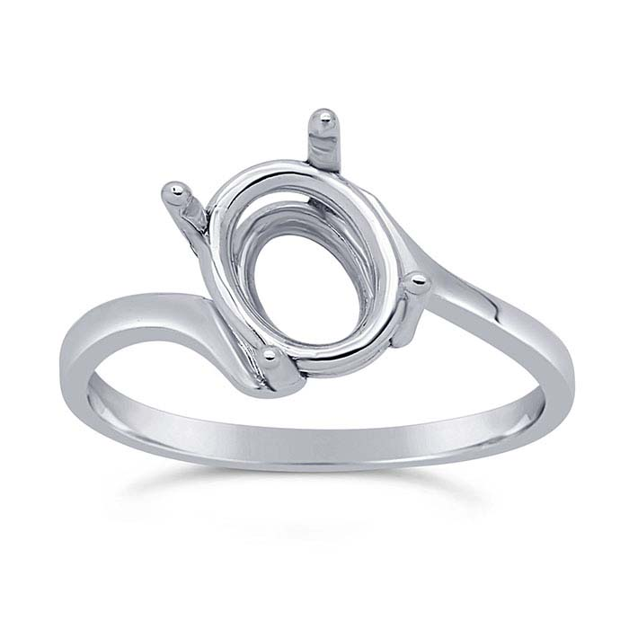 Granular Layered Ring with Oval Prongs Mounting in Sterling Silver for 8mm x 9mm Stones