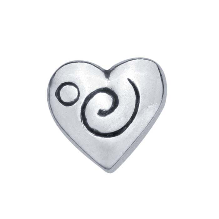 Sterling Silver Etched Heart Component for Floating Glass Lockets
