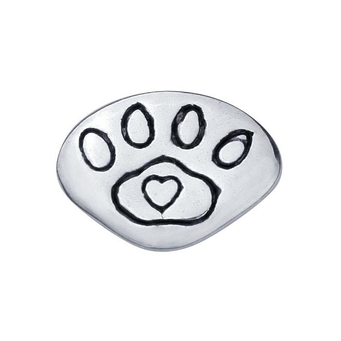Sterling Silver Paw-Print Heart Component for Floating Glass Lockets with Heart