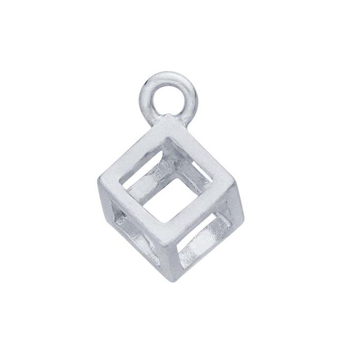Sterling Silver Open 3D Cube Component with Closed Ring
