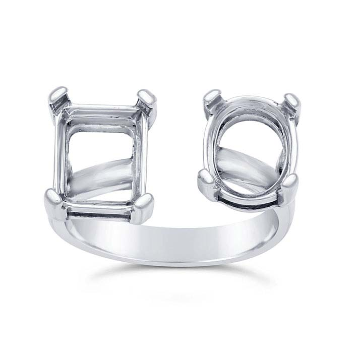 Sterling Silver Two-Stone Ring Mountings