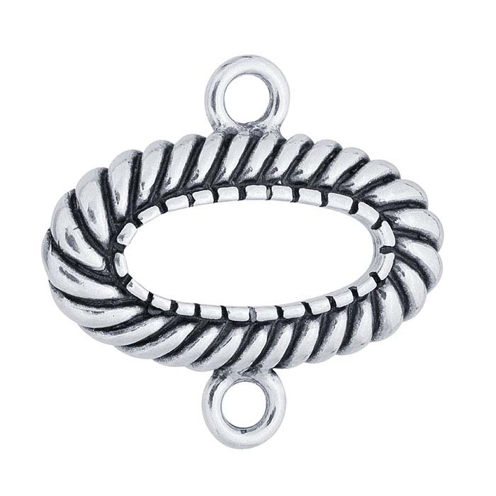 Sterling Silver Twist Oval Link Component